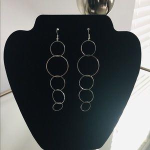 Aqua Multi Hoop Drop Earrings